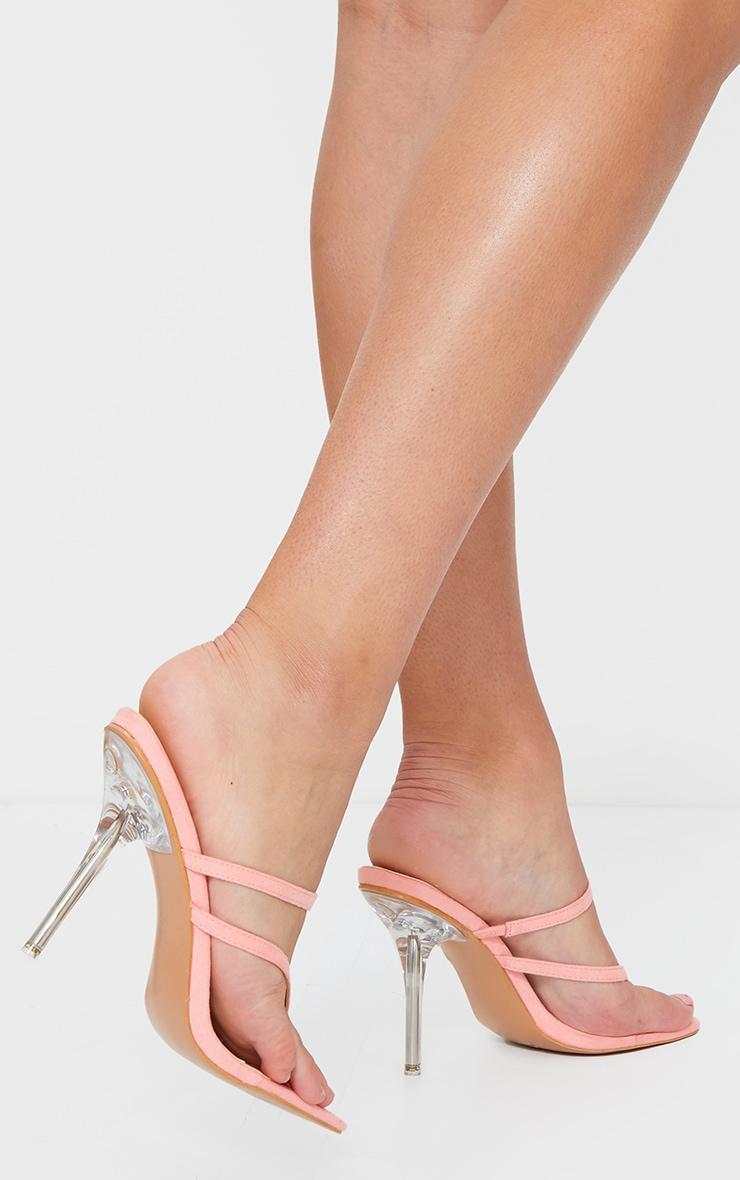 Pink Toe Thong Strappy Pin Heel Mules 2
