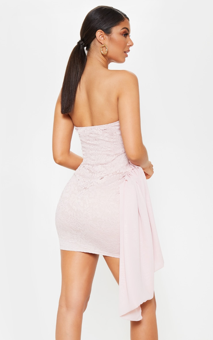 Nude Lace Bandeau Bodycon Dress 2