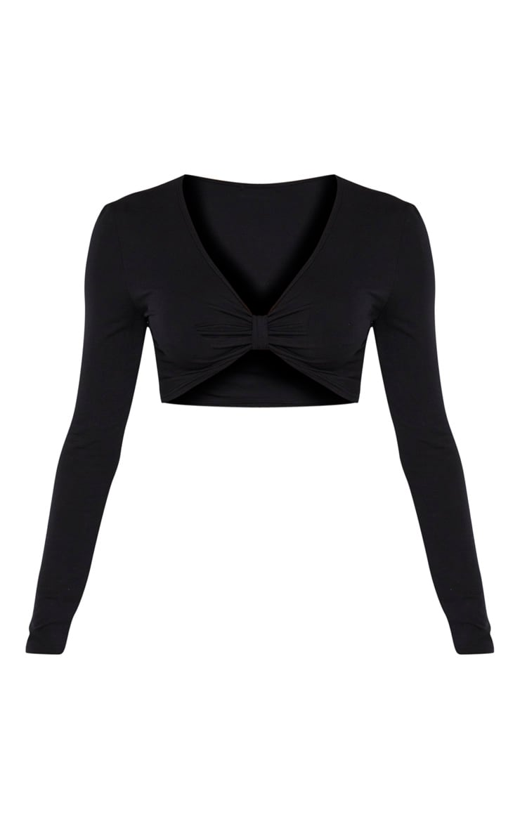Black Jersey Plunge Knot Front Long Sleeve Crop Top 3