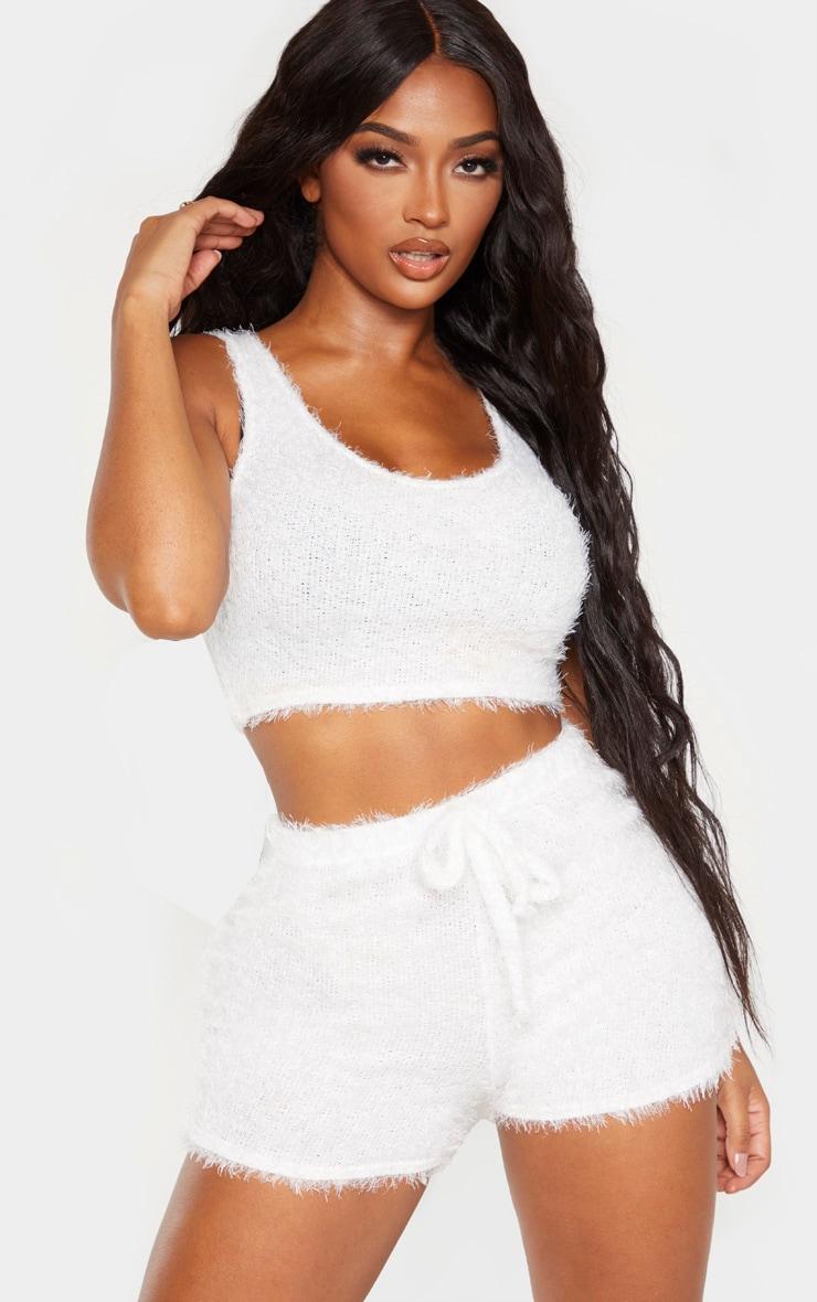 Shape Cream Eyelash Knit Tie Waist Shorts 1