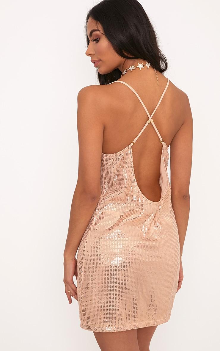 Vitaliya Rose Gold Strappy Low Back Sequin Shift Dress 2