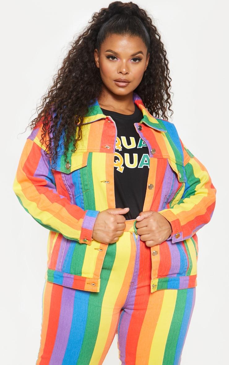 Plus Multi Stripe Denim Jacket  1