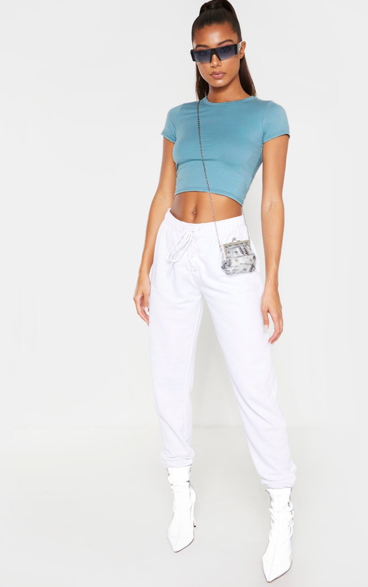 Dusty Turquoise Cotton Short Sleeve Crop Top 4