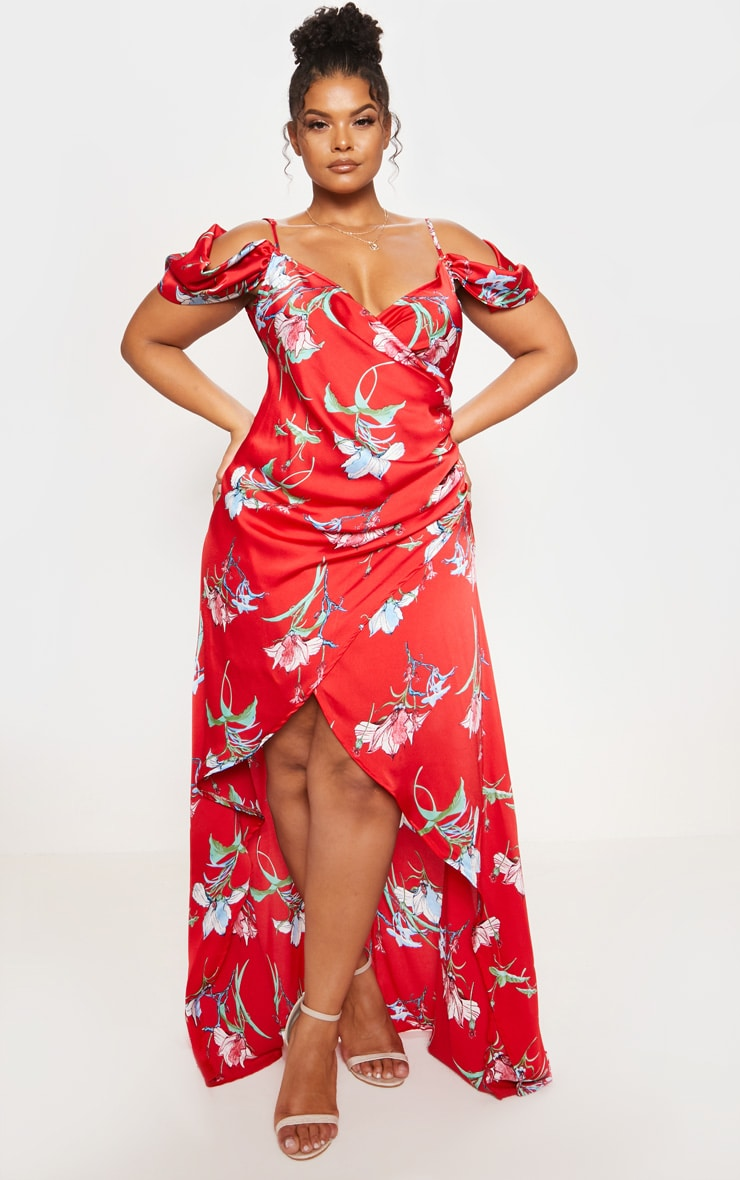 Red Floral Print Drape Detail Maxi Dress