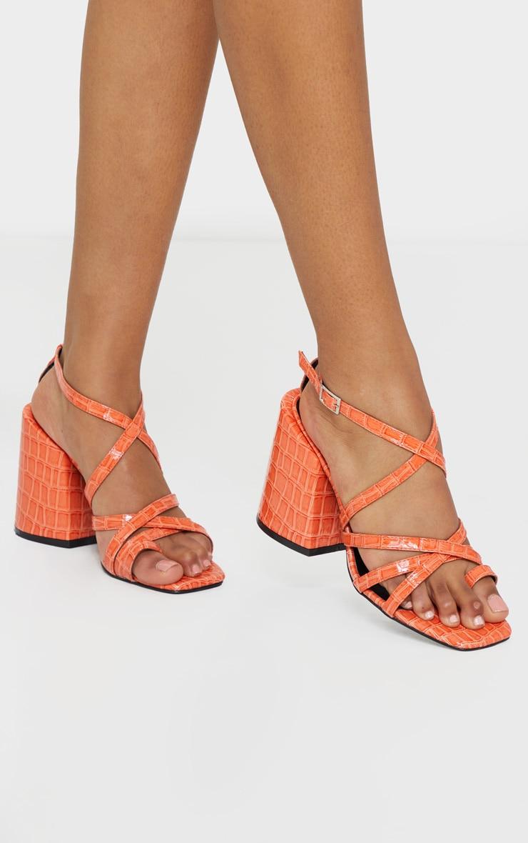 Orange Extreme Block Heel Toe Thong Strappy Sandal image 1