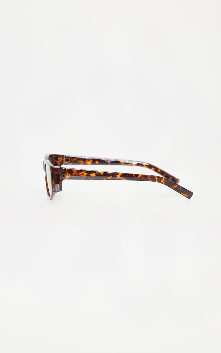 Brown Tortoise Slimline Square Frame Sunglasses 4