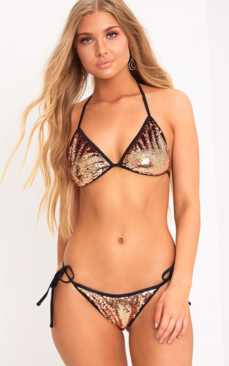 Caroline Bronze Sequin Bikini Bottoms  1