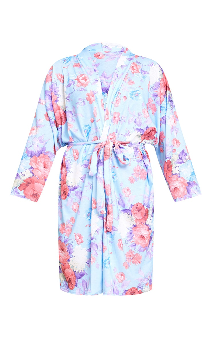 Bridesmaid Floral Blue Dressing Gown 3
