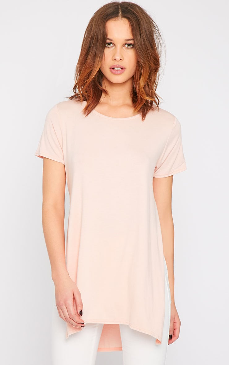 Basic Pink Side Split Drop Hem Tee-10 4