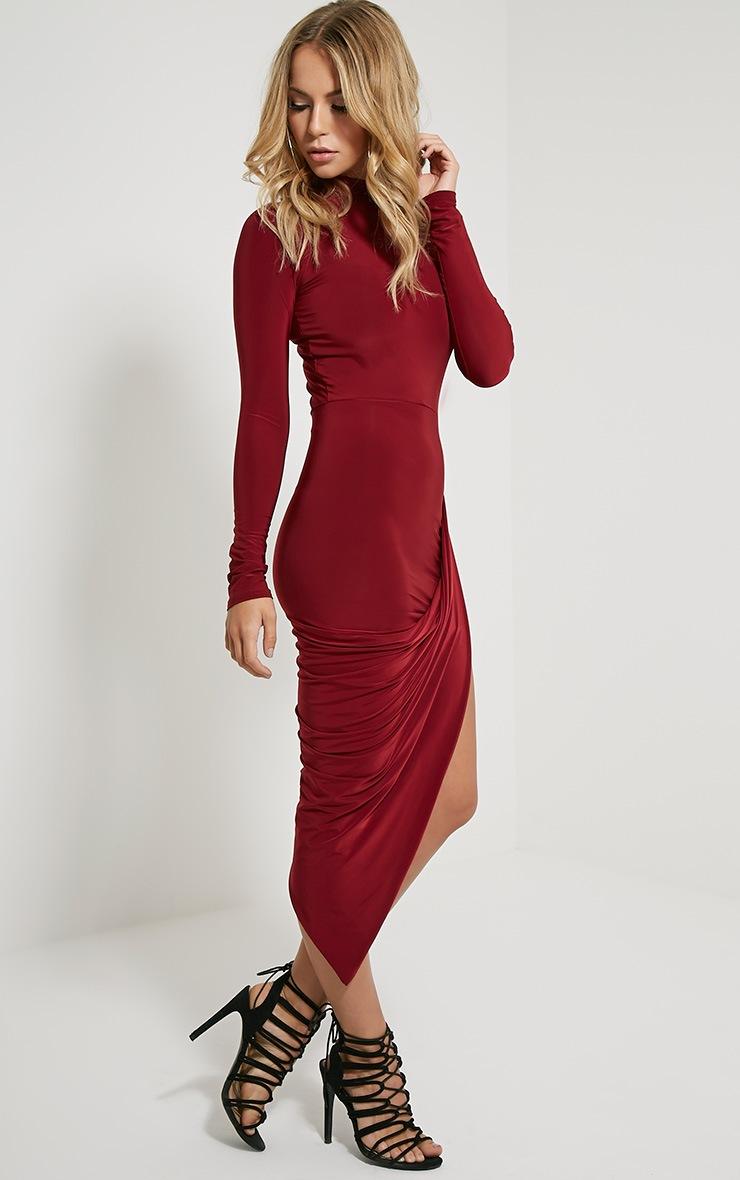 Saffy Wine Long Sleeve Drape Dress 5