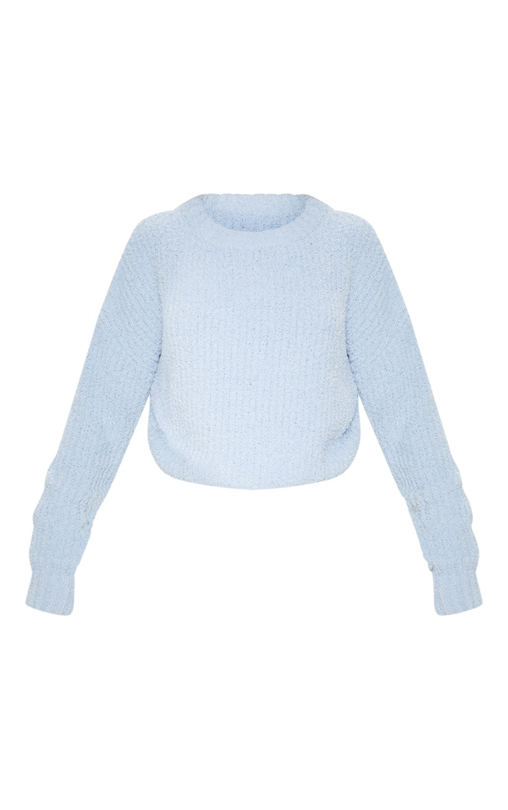 Blue Textured Soft Knit Crop Jumper 3