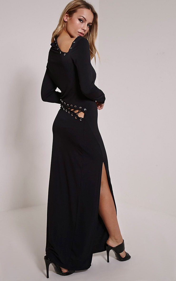 Aryanna Black Asymmetric Lace Up Maxi Dress 3