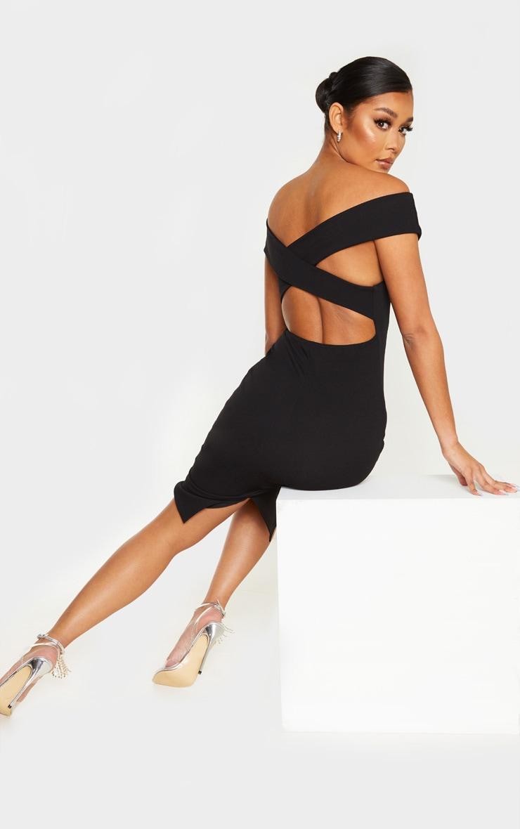 Black Bardot Cross Back Midi Dress 4