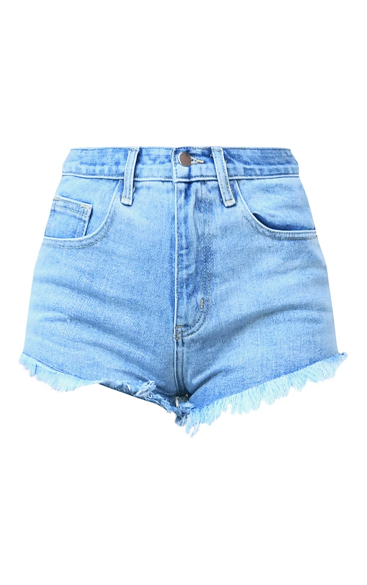 PRETTYLITTLETHING Light Blue Wash Frayed Hem Denim Shorts 6