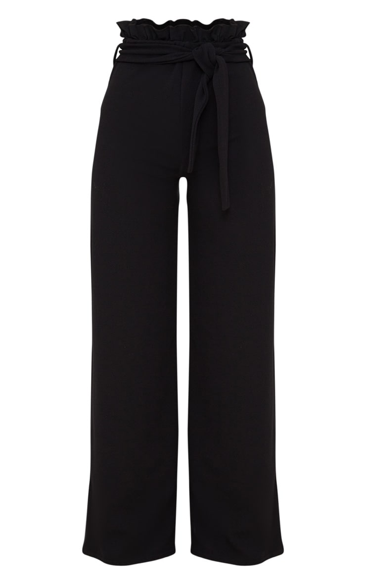 Petite Black Paperbag Wide Leg Trousers 3