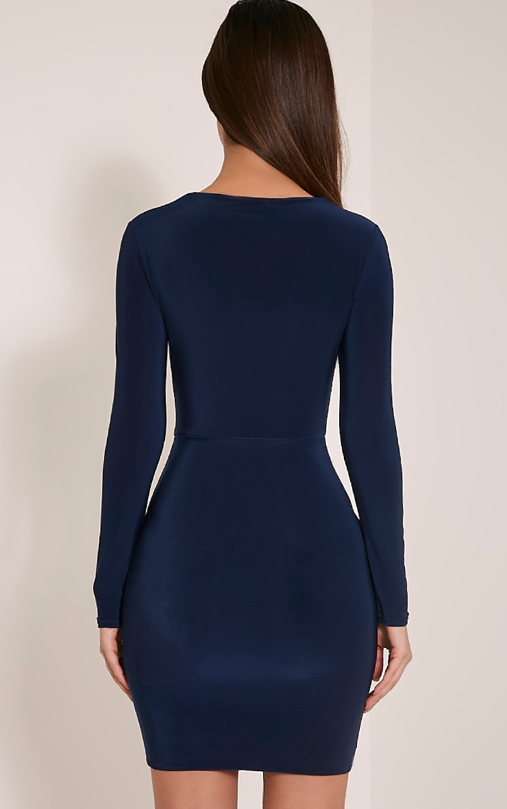 Zafia Navy Long Sleeve Mini Dress 2