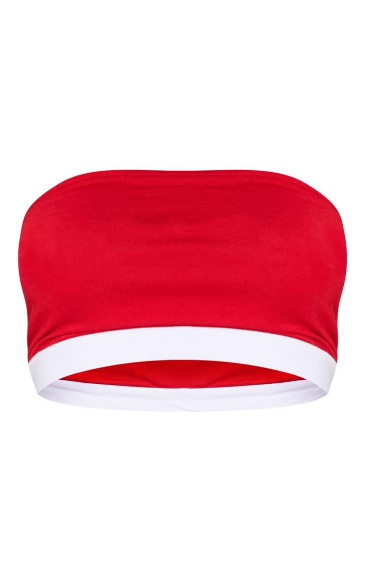 Red Contrast Hem Bandeau Top 3