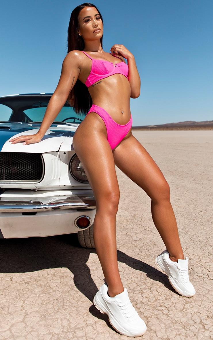 Neon Pink Underwired Crinkle Bikini Top 3