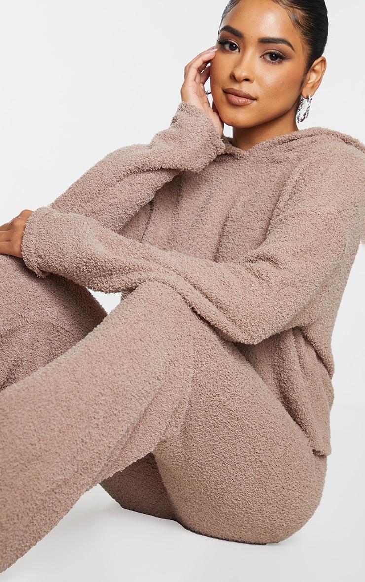 Mocha Premium Fluffy Knitted Hooded Wide Leg Set 4