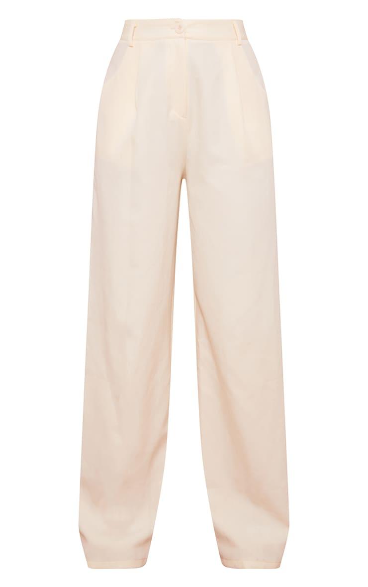 Cream Woven Wide Leg Suit Trousers 5