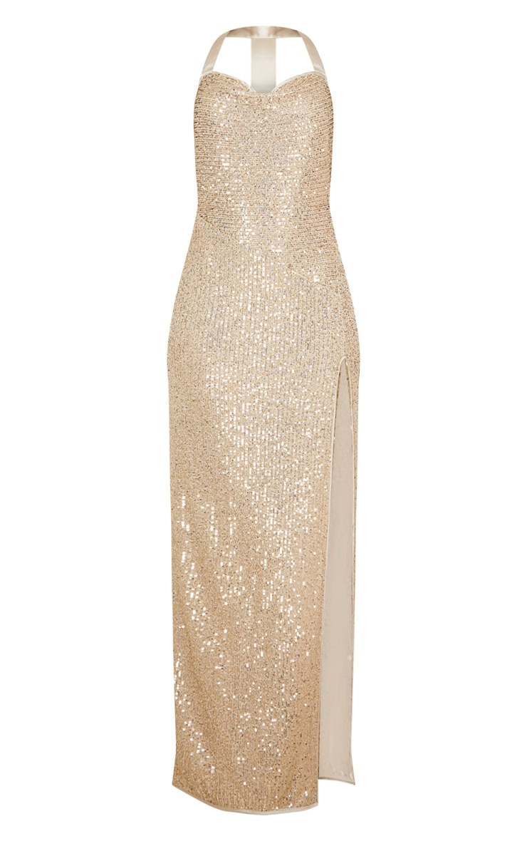 Gold Sequin Back Detail Maxi Dress 3