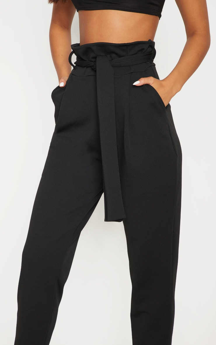 Black Scuba Tie Waist Cigarette Pants 5