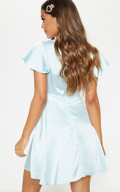 Dusty Blue Satin Tie Front Skater Dress