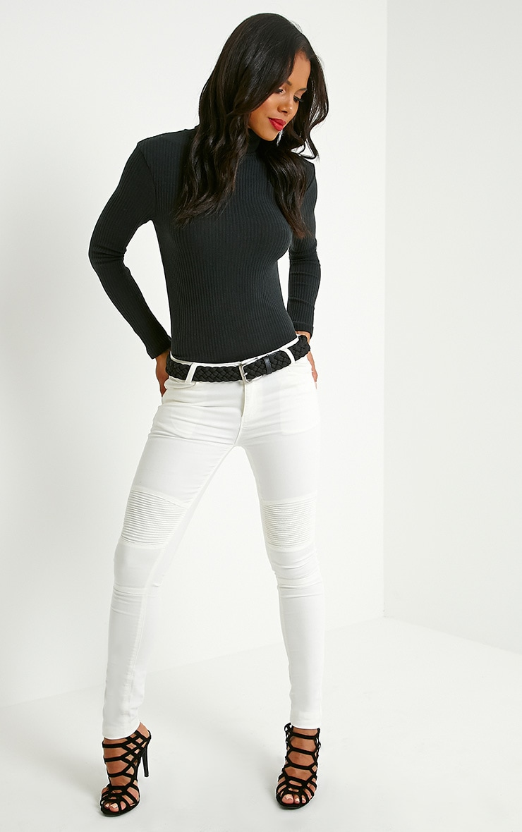 Rica Black Ribbed Roll Neck Top 3
