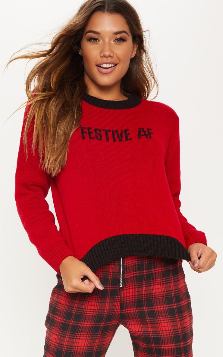Red Festive AF Slogan Jumper  1