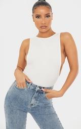White Crepe Side Boob Thong Bodysuit  3