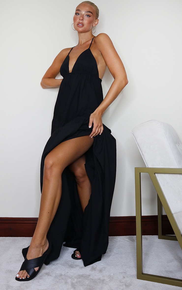 Black Woven Tiered Smock Maxi Dress 1