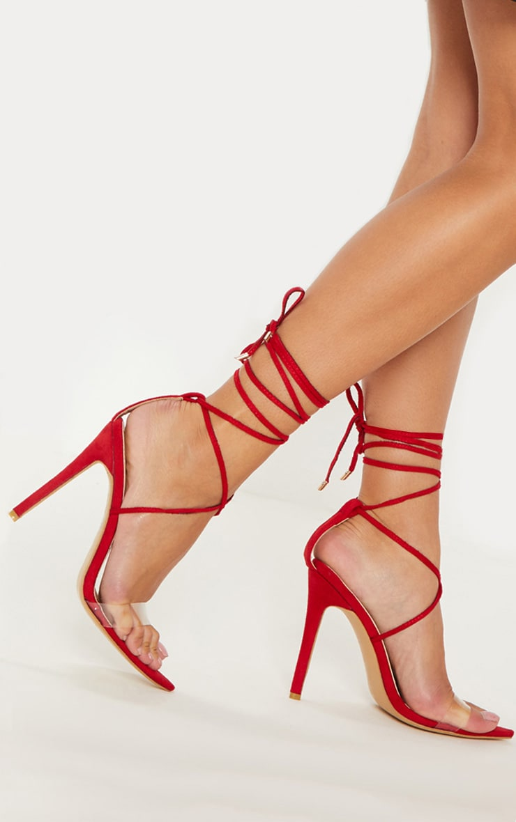 Red Clear Strap Point Toe Barely There Sandal