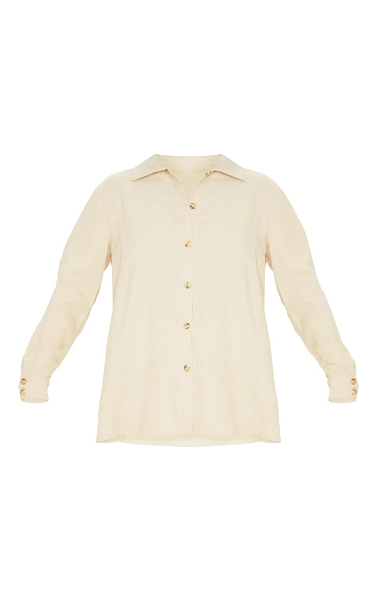 Camel Cord Button Front Oversized Shirt 6