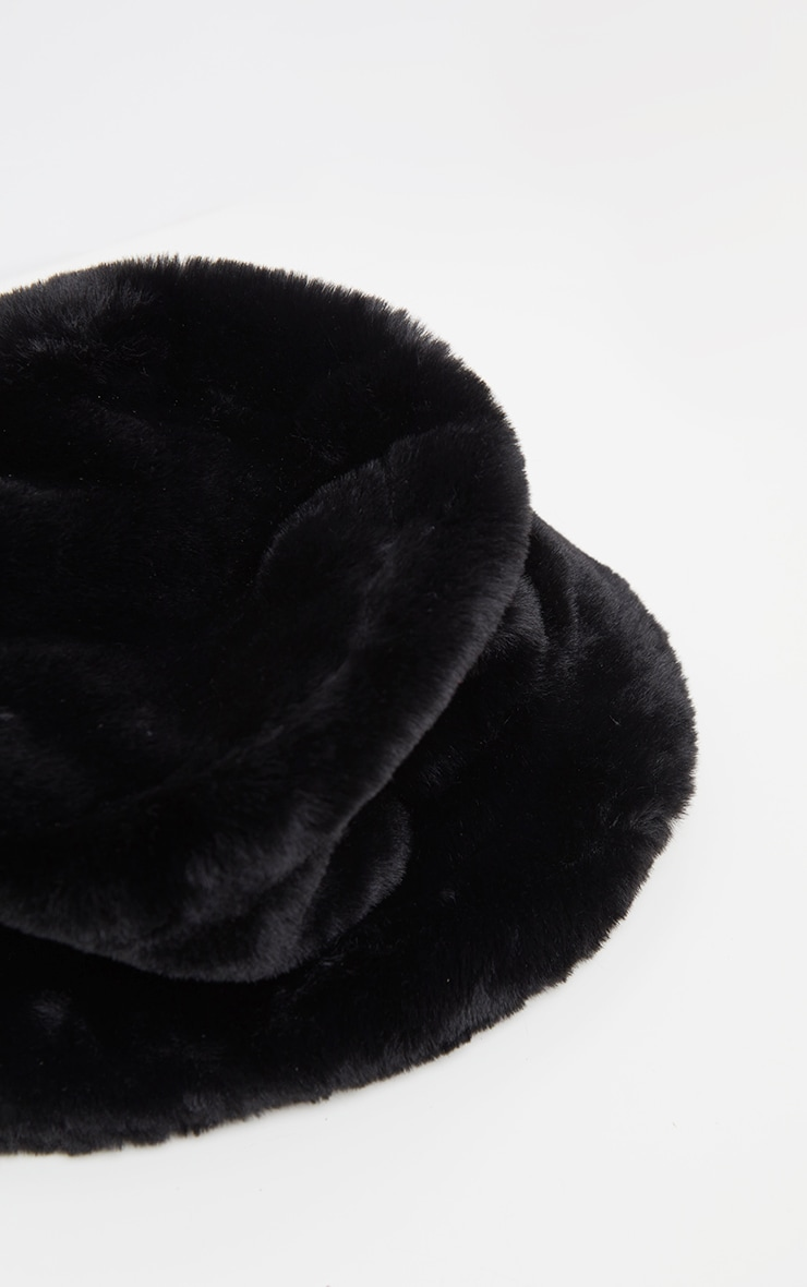 Black Faux Fur Bucket Hat 4