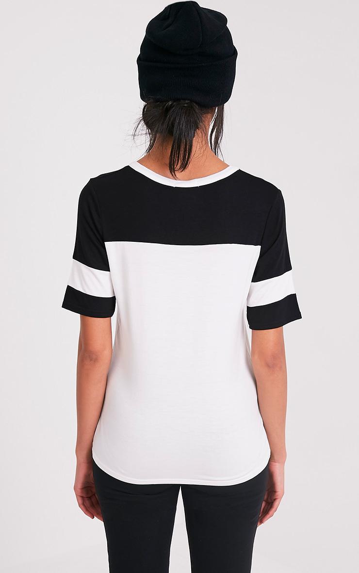 Melita Cream Colourblock V Neck Jersey T Shirt 3
