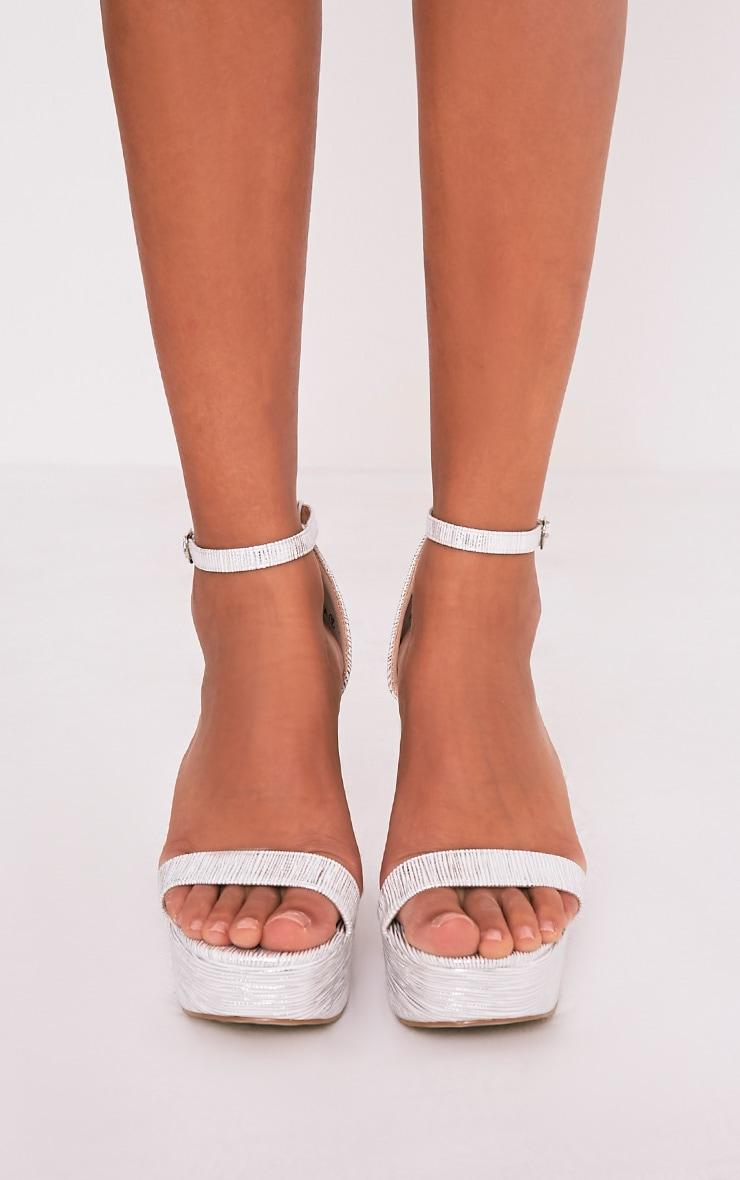 Cyra Silver Metallic Platform Strappy Heels 3