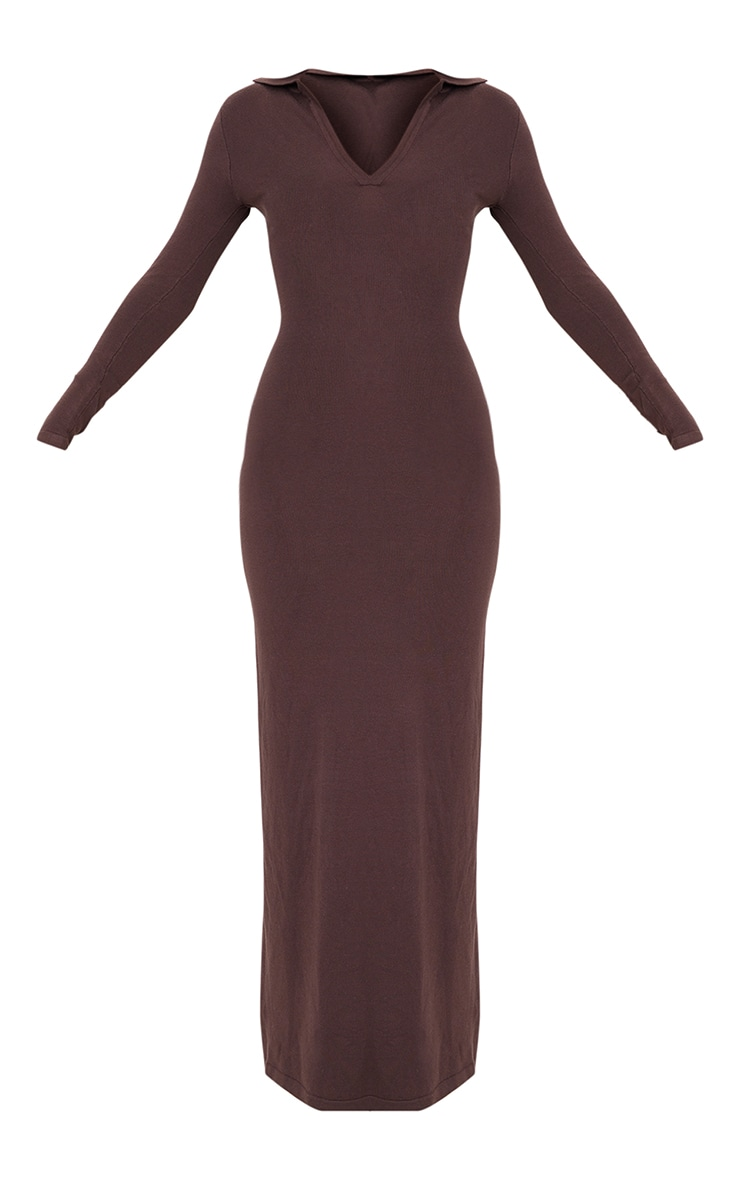 Chocolate Collar Detail Maxi Side Split Knitted Dress 5