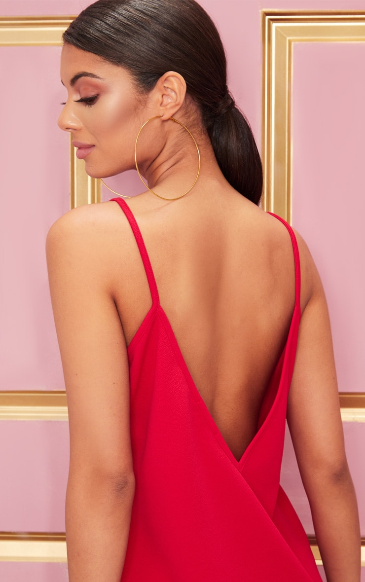 Red Strappy Detail Backless Cami Dress 5