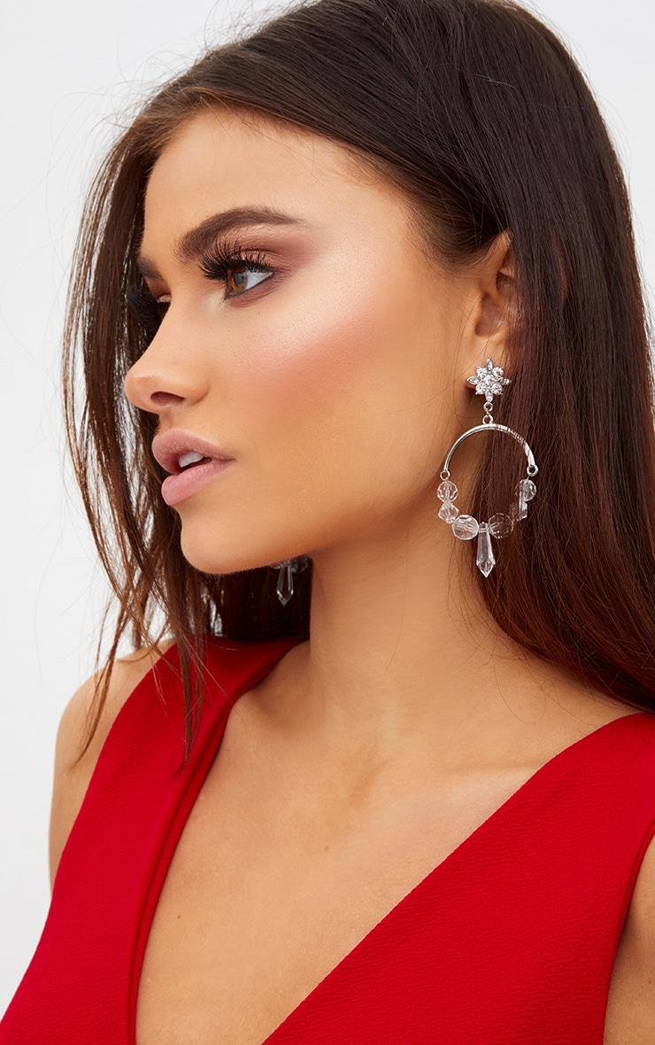 Silver Acrylic Detail Hoop Earrings 2