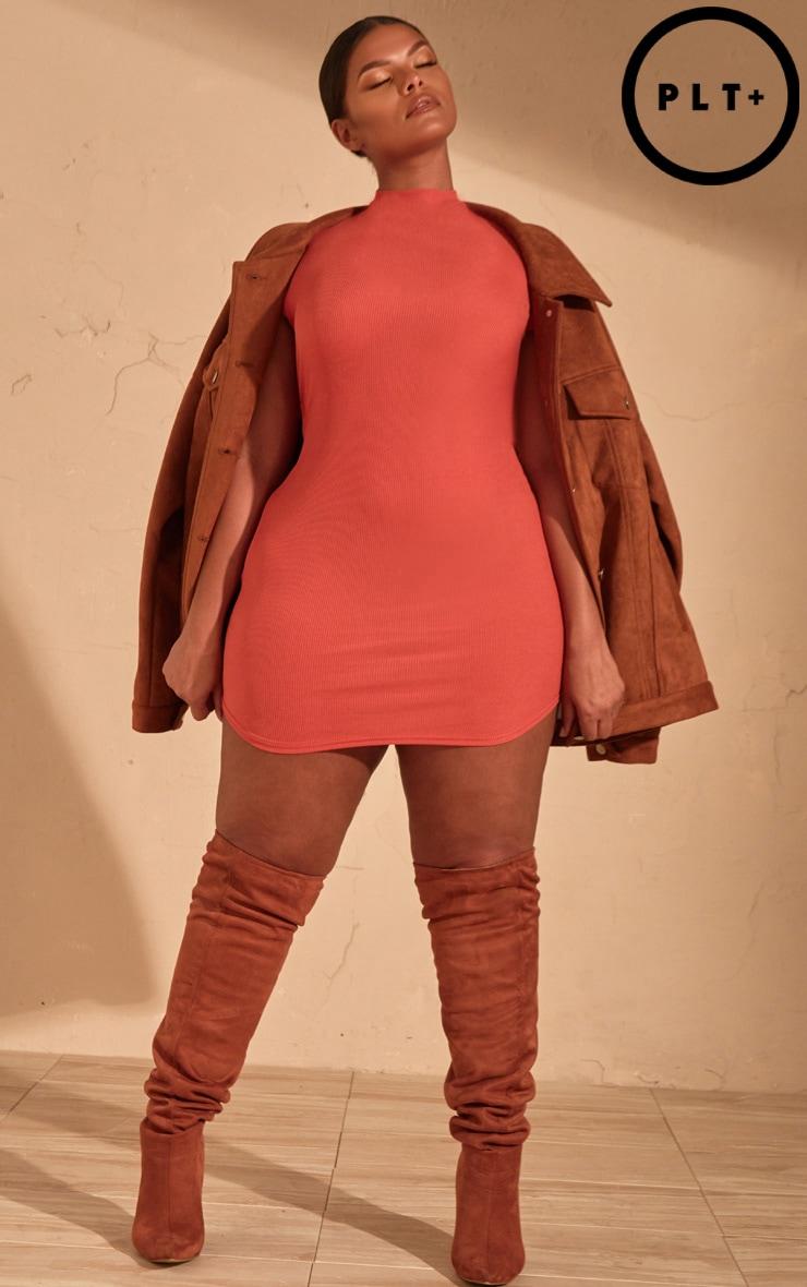 Plus Auburn Ribbed High Neck Bodycon Dress  by Prettylittlething