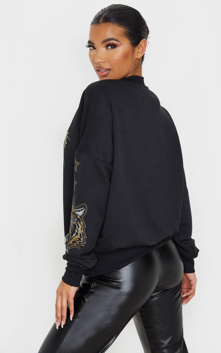 Black Tiger Embellished Sweater 2