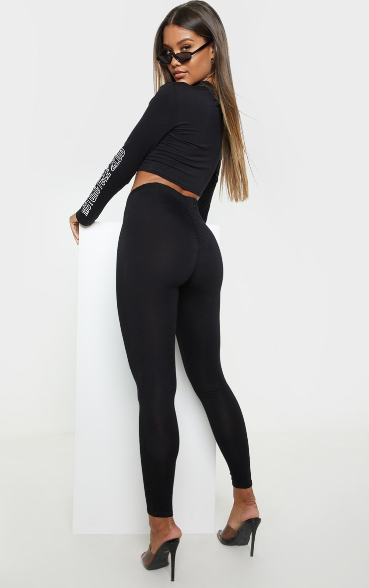 Black Ruched Back Jersey Leggings 1