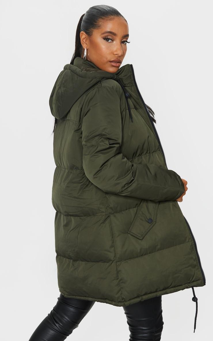 Khaki Hooded Longline Puffer Coat 2