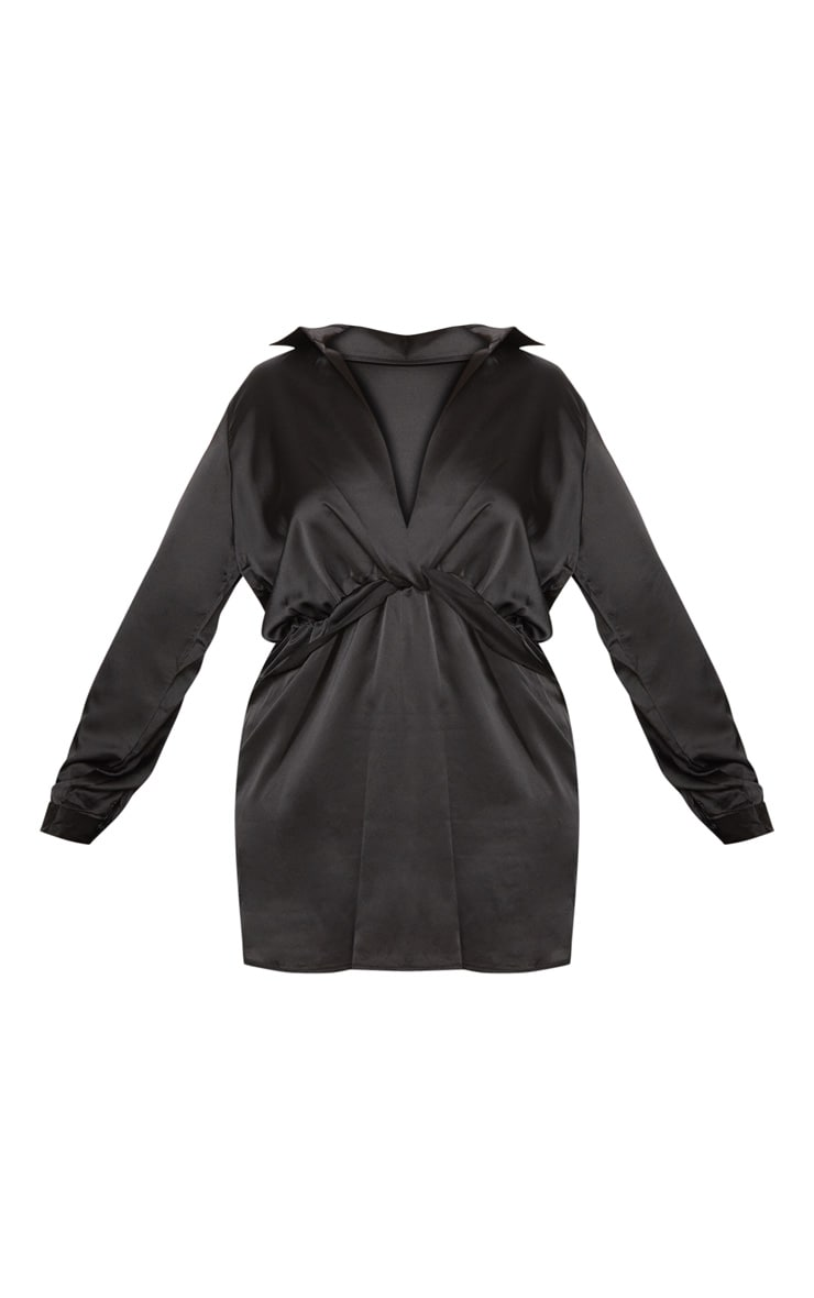 Plus Black Twist Front Satin Shirt Dress 3