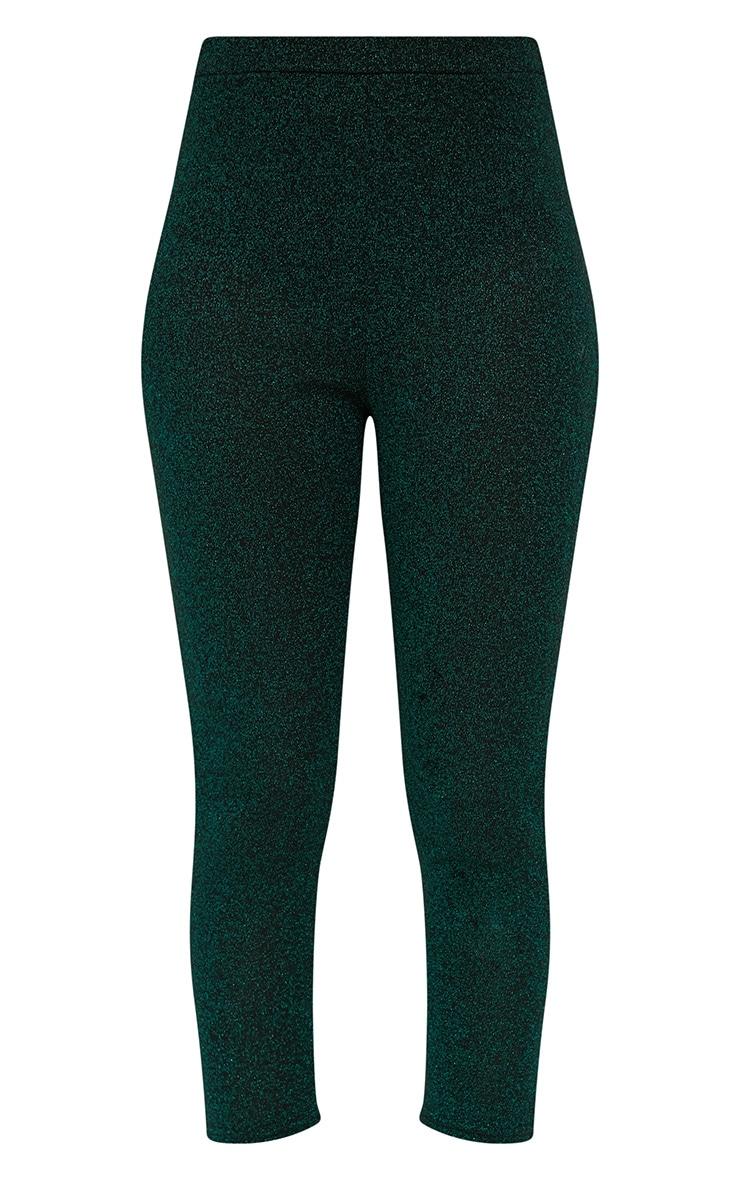 Emerald Green Metallic Cropped Leggings 3