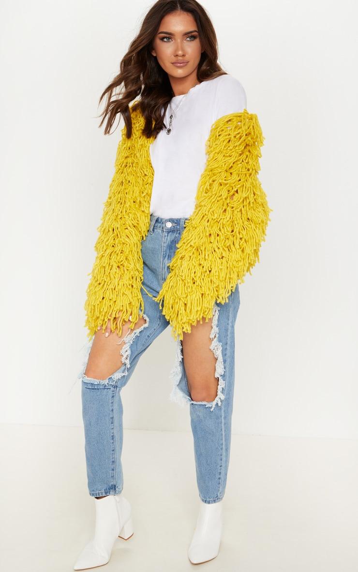 Mustard Shaggy Knit Cropped Cardigan 4