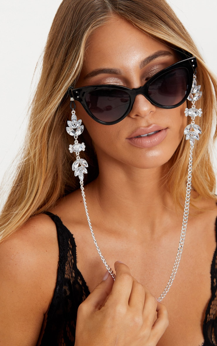 Silver Floral Gem Sunglasses Chain 1