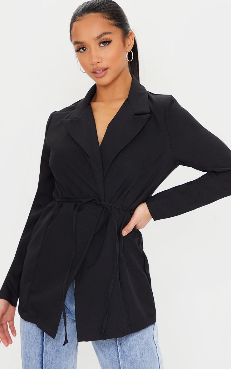Petite Black Skinny Tie Waist Blazer 1