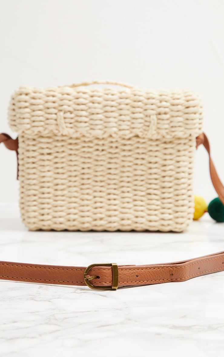 Straw Pom Pom Cross Body Bag 3