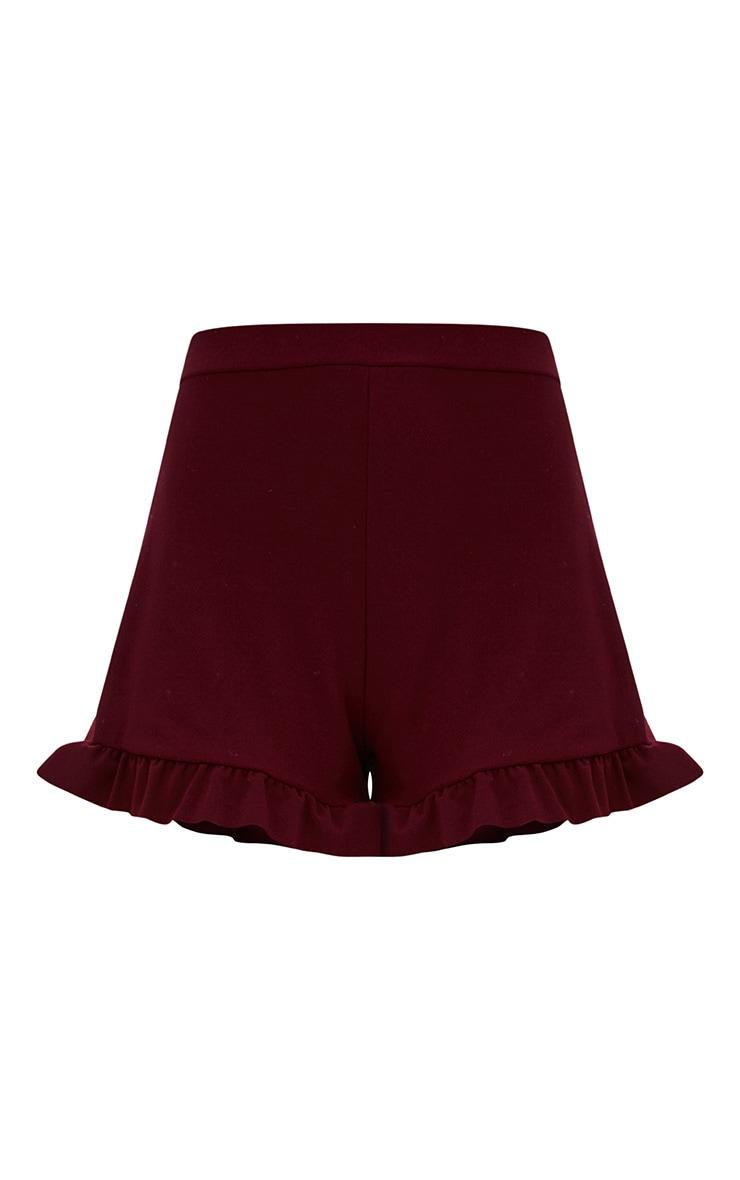 Burgundy Frill Hem Shorts 3